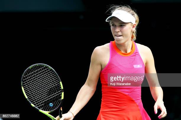 Caroline Wozniacki of Denmark in action in her match against Anastasia Pavlyuchenkova of Russia during the women's singles final match during day...