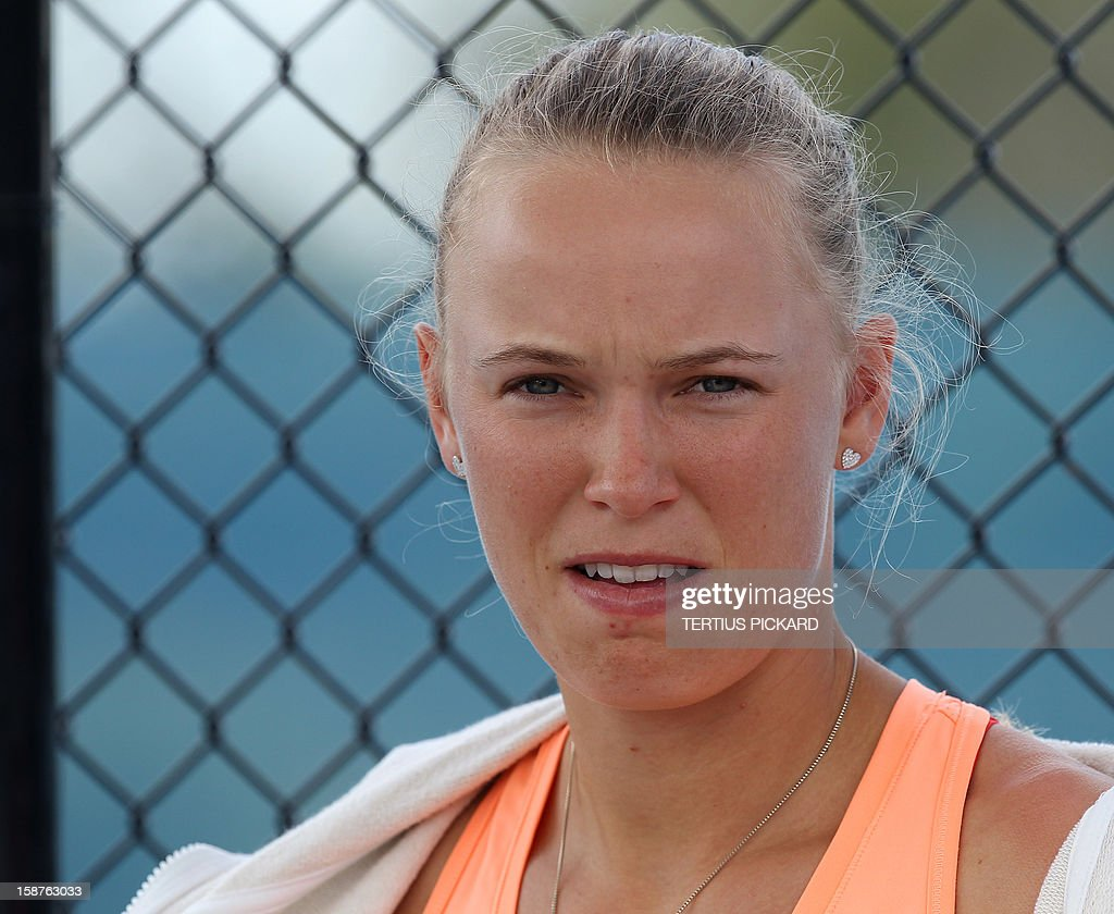 Caroline Wozniacki of Denmark is pictured during her training session in Brisbane on December 28, 2012, for the upcoming Brisbane International tennis tournament