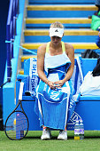 Caroline Wozniacki of Denmark looks dejected in her women's singles semi final match against Jamie Hampton of USA during day seven of the AEGON...