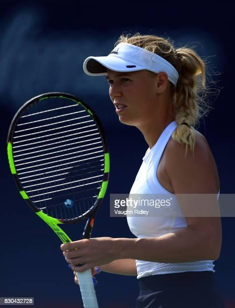 Caroline Wozniacki of Denmark looks on against Karolina Pliskova of Czech Republic during Day 7 of the Rogers Cup at Aviva Centre on August 11 2017...