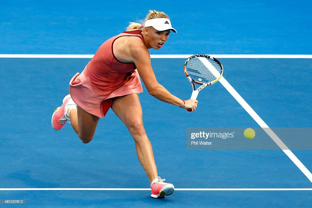 Caroline Wozniacki of Denmark plays a backhand during her semifinal match against Barbora Zahlavova Strycova of the Czech Republic during day five of...