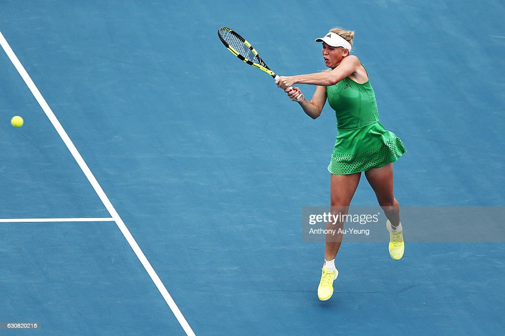 Caroline Wozniacki of Denmark plays a backhand in her match against Nicole Gibbs of USA on day two of the ASB Classic on January 3, 2017 in Auckland, New Zealand.