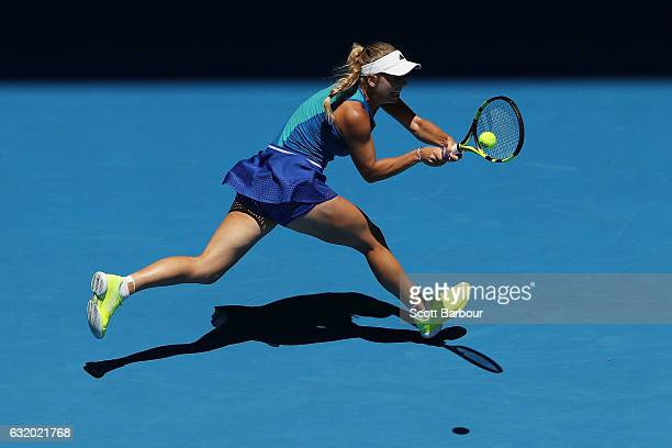 Caroline Wozniacki of Denmark plays a backhand in her second round match against Donna Vekic of Croatia on day four of the 2017 Australian Open at...