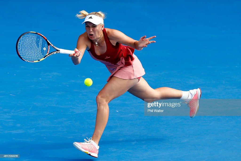 Caroline Wozniacki of Denmark plays a forehand during her semifinal match against Barbora Zahlavova Strycova of the Czech Republic during day five of...