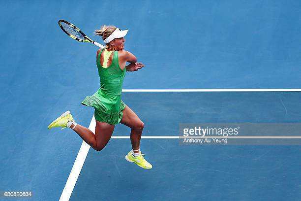 Caroline Wozniacki of Denmark plays a forehand in her match against Nicole Gibbs of USA on day two of the ASB Classic on January 3 2017 in Auckland...