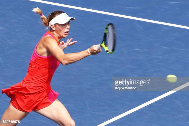 Caroline Wozniacki of Denmark plays a forehand in her match against Anastasia Pavlyuchenkova of Russia during the women's singles final match during...