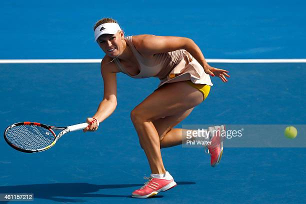 Caroline Wozniacki of Denmark plays a forehand in her quarter final match against Julia Goerges of Germany during day four of the 2015 ASB Classic at...