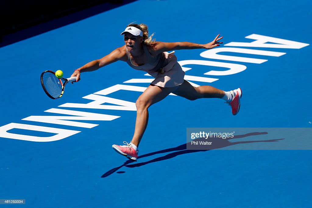 Caroline Wozniacki of Denmark plays a forehand in her singles final match against Venus Williams of the USA during day six of the 2015 ASB Classic at...