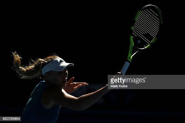 Caroline Wozniacki of Denmark plays a forehand in her third round match against Johanna Konta of Great Britain on day six of the 2017 Australian Open...