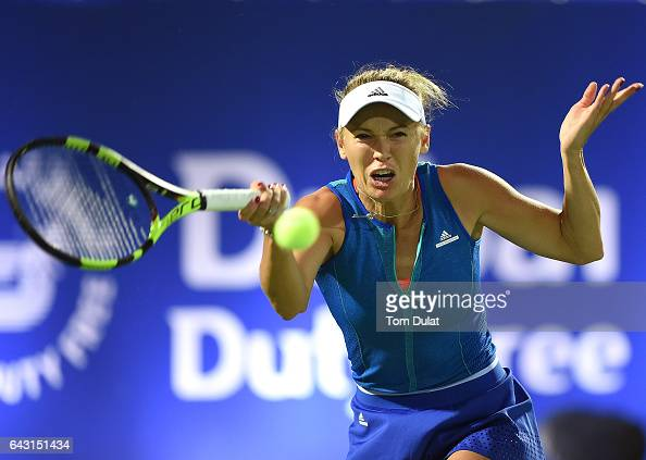 Caroline Wozniacki of Denmark plays forehand during her match against Daria Kasatkina of Russia on day two of the WTA Dubai Duty Free Tennis...