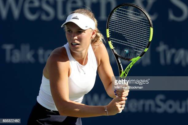 Caroline Wozniacki of Denmark plays Karolina Pliskova of Czech Republic during day 7 of the Western Southern Open at the Lindner Family Tennis Center...