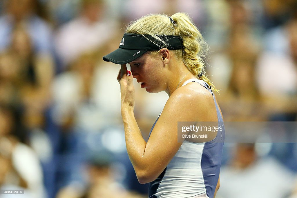 Caroline Wozniacki of Denmark reacts against Petra Cetkovska of the Czech Republic during their Women's Singles Second Round match on Day Four of the 2015 US Open at the USTA Billie Jean King National Tennis Center on September 3, 2015 in the Flushing neighborhood of the Queens borough of New York City.