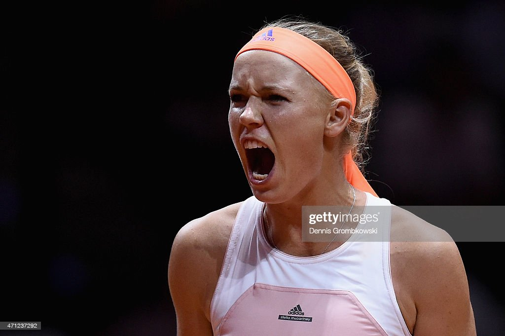 Caroline Wozniacki of Denmark reacts during her final match against Angelique Kerber of Germany during Day 7 of the Porsche Tennis Grand Prix on April 26, 2015 in Stuttgart, Germany.