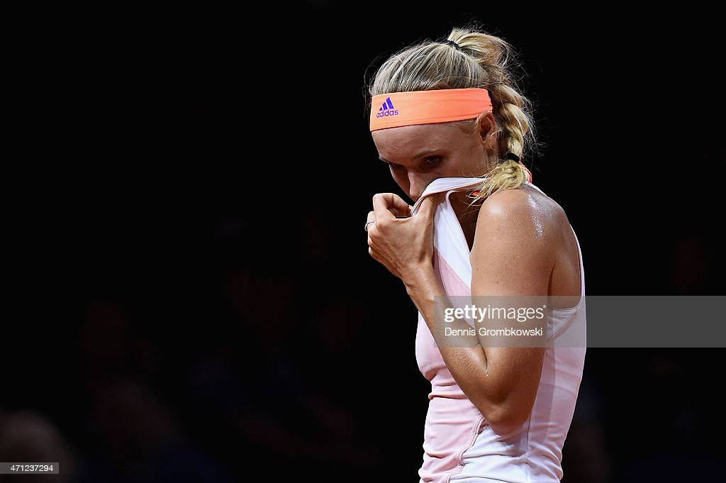 <a gi-track='captionPersonalityLinkClicked' href=/galleries/search?phrase=Caroline+Wozniacki&family=editorial&specificpeople=740679 ng-click='$event.stopPropagation()'>Caroline Wozniacki</a> of Denmark reacts during her final match against Angelique Kerber of Germany during Day 7 of the Porsche Tennis Grand Prix on April 26, 2015 in Stuttgart, Germany.