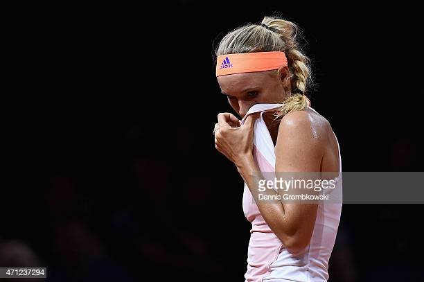 Caroline Wozniacki of Denmark reacts during her final match against Angelique Kerber of Germany during Day 7 of the Porsche Tennis Grand Prix on...