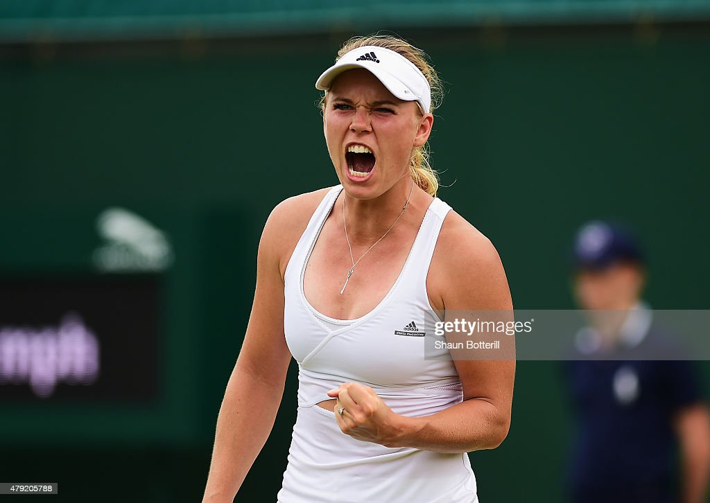 <a gi-track='captionPersonalityLinkClicked' href=/galleries/search?phrase=Caroline+Wozniacki&family=editorial&specificpeople=740679 ng-click='$event.stopPropagation()'>Caroline Wozniacki</a> of Denmark reacts in her match against Denisa Allertova of Czech Republic during their Women's Singles Second Round match during day four of the Wimbledon Lawn Tennis Championships at the All England Lawn Tennis and Croquet Club on July 2, 2015 in London, England.