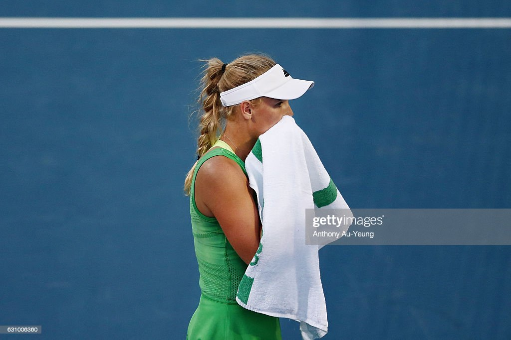 Caroline Wozniacki of Denmark reacts in her quarter final match against Julia Goerges of Germany on day four of the ASB Classic on January 5, 2017 in Auckland, New Zealand.