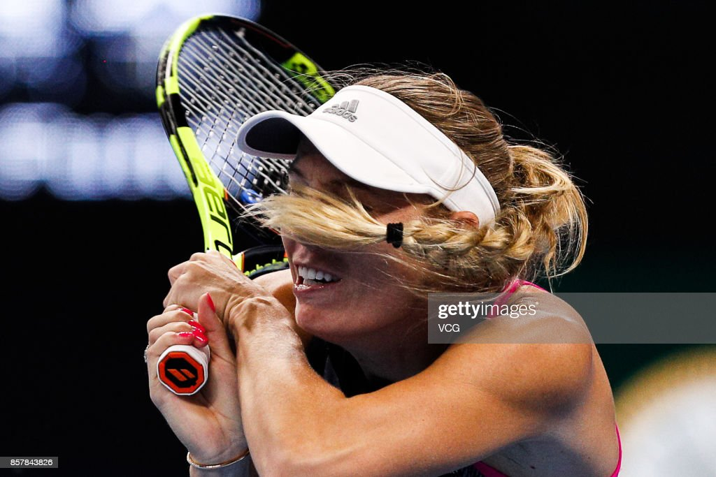 Caroline Wozniacki of Denmark returns a shot during the Women's singles thrid round match against Petra Kvitova of the Czech Repubic on day six of the 2017 China Open at National Tennis Stadium on October 5, 2017 in Beijing, China.