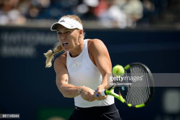 Caroline Wozniacki of Denmark returns the ball during the 2017 Rogers Cup tennis tournament final on August 13 at Aviva Centre in Toronto ON Canada