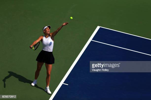 Caroline Wozniacki of Denmark serves against Agnieszka Radwanska of Poland during Day 6 of the Rogers Cup at Aviva Centre on August 10 2017 in...