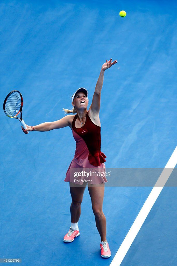Caroline Wozniacki of Denmark serves during her semifinal match against Barbora Zahlavova Strycova of the Czech Republic during day five of the 2015...