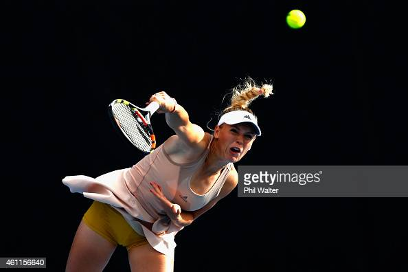 Caroline Wozniacki of Denmark serves in her quarter final match against Julia Goerges of Germany during day four of the 2015 ASB Classic at ASB...