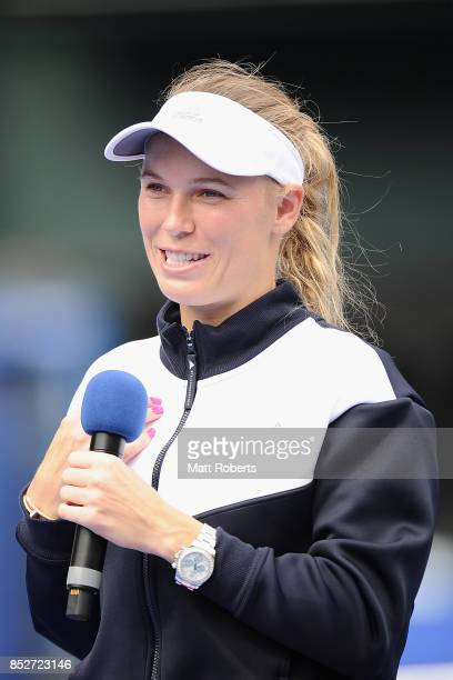 Caroline Wozniacki of Denmark speaks during the trophy presentation after defeating Anastasia Pavlyuchenkova of Russia in the women's singles final...