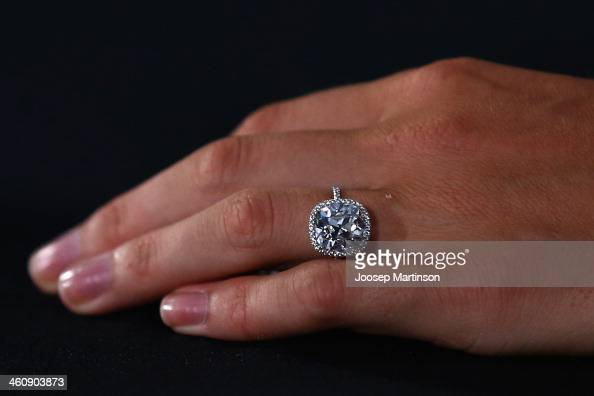Caroline Wozniacki of Denmark's engagement ring is seen as she speaks to media during day two of the Sydney International at Sydney Olympic Park...