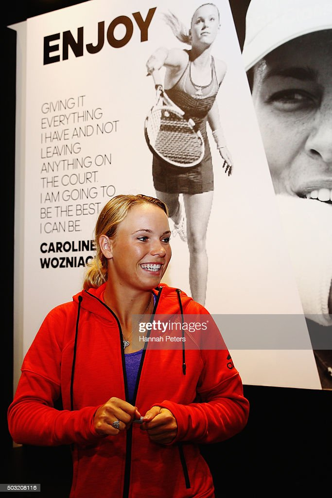 Caroline Wozniacki signs autographs after taking part in an exhibition tennis match on January 3, 2016 in Auckland, New Zealand. The ASB Classic starts on Monday 4, 2016.