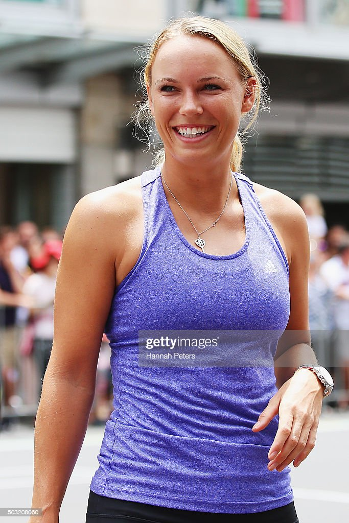 Caroline Wozniacki takes part in an exhibition tennis match on January 3, 2016 in Auckland, New Zealand. The ASB Classic starts on Monday 4, 2016.