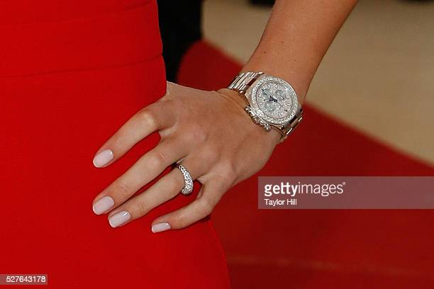 Caroline Wozniacki watch detail ring detail attends 'Manus x Machina Fashion in an Age of Technology' the 2016 Costume Institute Gala at the...