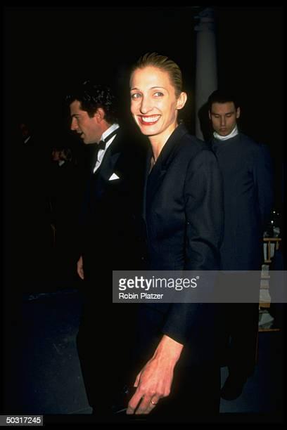 Carolyn Bessette Kennedy with husband publisher John F Kennedy Jr at New York Municipal Art Society Gala