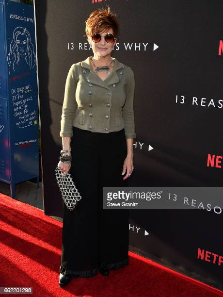 Carolyn Hennesy arrives at the Premiere Of Netflix's '13 Reasons Why' at Paramount Pictures on March 30 2017 in Los Angeles California