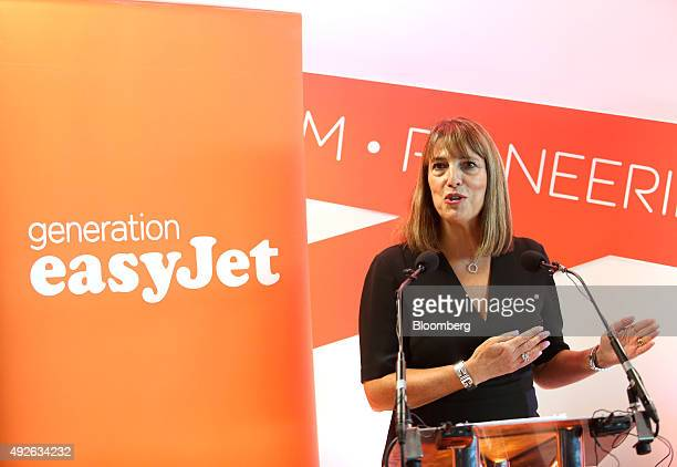 Carolyn McCall chief executive officer of EasyJet Plc speaks at EasyJet Plc's new European training facility at London Gatwick Airport in London UK...