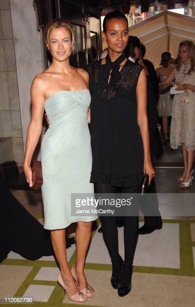 Carolyn Murphy and Liya Kebede during 2006 CFDA Awards Red Carpet at New York Public Library in New York City New York United States