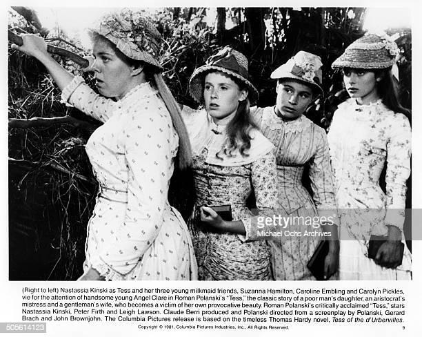 Carolyn Pickles Caroline Embling Suzanna Hamilton and Nastassja Kinski vie of boys attention in a scene from the movie 'Tess' circa 1979