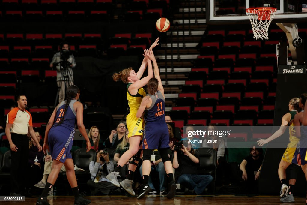 Carolyn Swords #8 of the Seattle Storm shoots the ball during a game against the Phoenix Mercury on May 3, 2017 at Key Arena in Seattle, Washington.