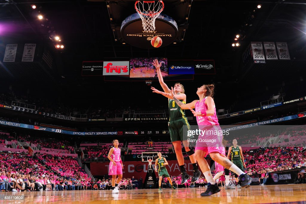 Carolyn Swords #8 of the Seattle Storm shoots the ball during the game against the Phoenix Mercury on August 12, 2017 at Talking Stick Resort Arena in Phoenix, Arizona.