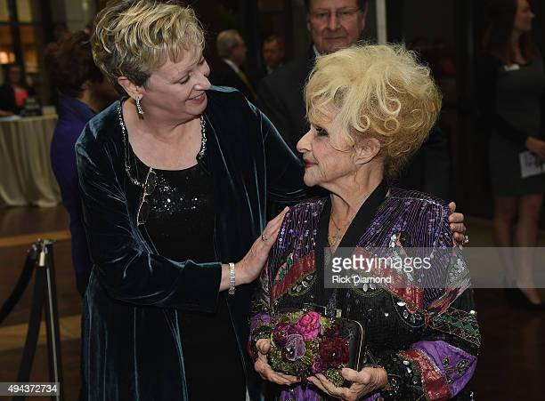 Carolyn Tate CMHoFM welcoms Brenda Lee to The Country Music Hall of Fame 2015 Medallion Ceremony at the Country Music Hall of Fame and Museum on...