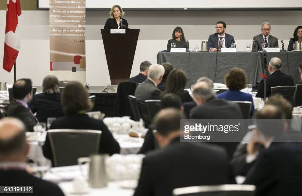 Carolyn Wilkins senior deputy governor at the Bank of Canada speaks during the Competition Bureau's FinTech Market Study Workshop in Ottawa Ontario...