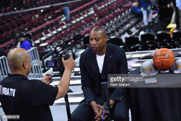 Caron Butler moderates a Facebook Live chat during practice and media availability as part of the 2017 NBA Finals on June 08 2017 at Quicken Loans...