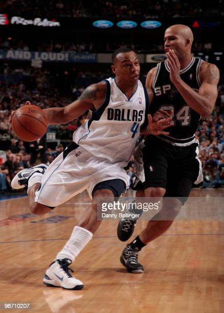 Caron Butler of the Dallas Mavericks drives against Richard Jefferson of the San Antonio Spurs in Game Five of the Western Conference Quarterfinals...