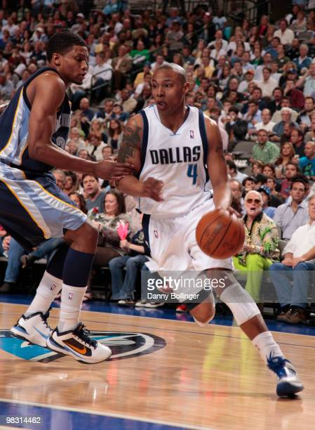 Caron Butler of the Dallas Mavericks drives against Rudy Gay of the Memphis Grizzlies during a game at the American Airlines Center on April 7 2010...