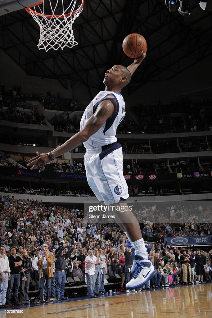Caron Butler #4 of the Dallas Mavericks flies in for the dunk against the Detroit Pistons during a game on November 23, 2010 at the American Airlines Center in Dallas, Texas.