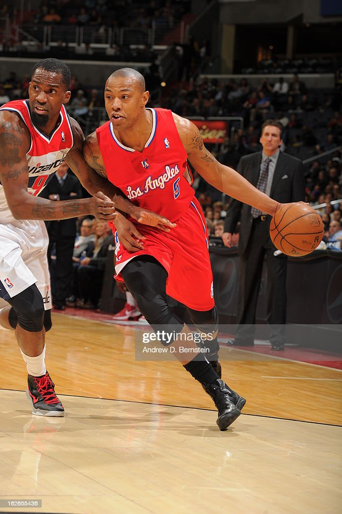 <a gi-track='captionPersonalityLinkClicked' href=/galleries/search?phrase=Caron+Butler&family=editorial&specificpeople=201744 ng-click='$event.stopPropagation()'>Caron Butler</a> #5 of the Los Angeles Clippers drives to the basket against the Washington Wizards on February 4, 2013 at the Verizon Center in Washington, DC.