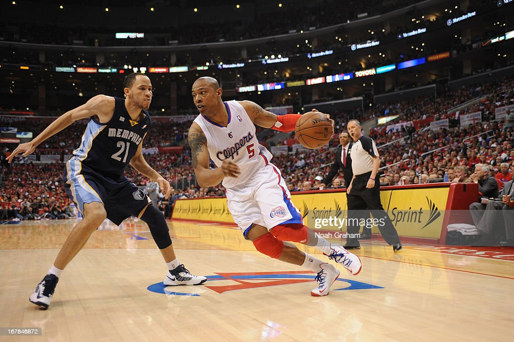 Caron Butler #5 of the Los Angeles Clippers drives to the basket against the Memphis Grizzlies at Staples Center in Game Five of the Western Conference Quarterfinals during the 2013 NBA Playoffs on April 30, 2013 in Los Angeles, California.
