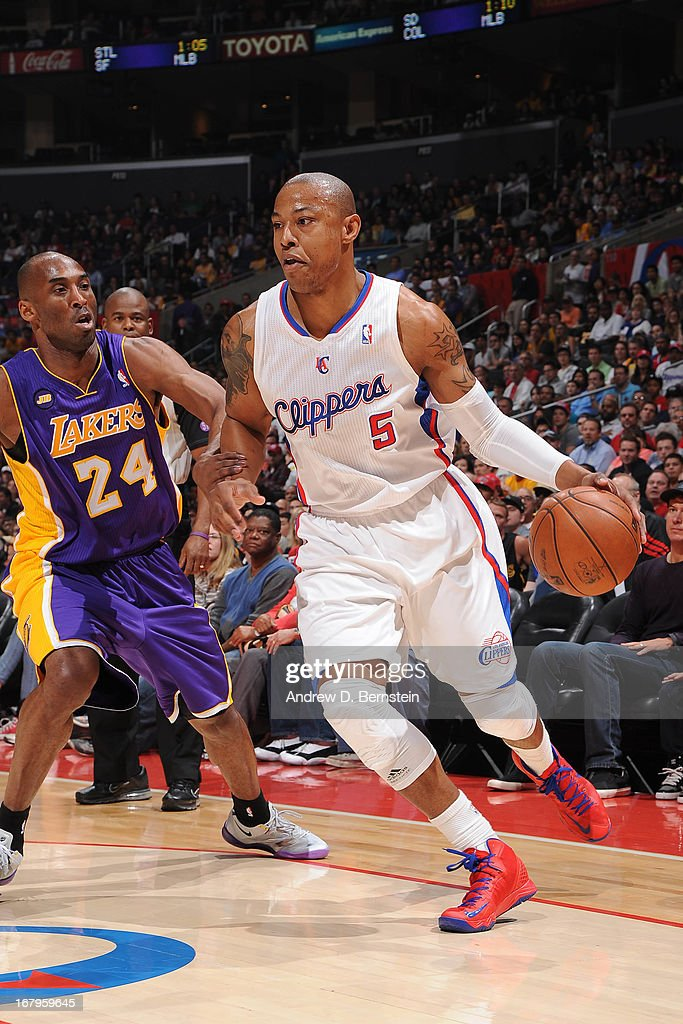 <a gi-track='captionPersonalityLinkClicked' href=/galleries/search?phrase=Caron+Butler&family=editorial&specificpeople=201744 ng-click='$event.stopPropagation()'>Caron Butler</a> #5 of the Los Angeles Clippers drives to the basket against the Los Angeles Lakers at Staples Center on April 7, 2013 in Los Angeles, California.