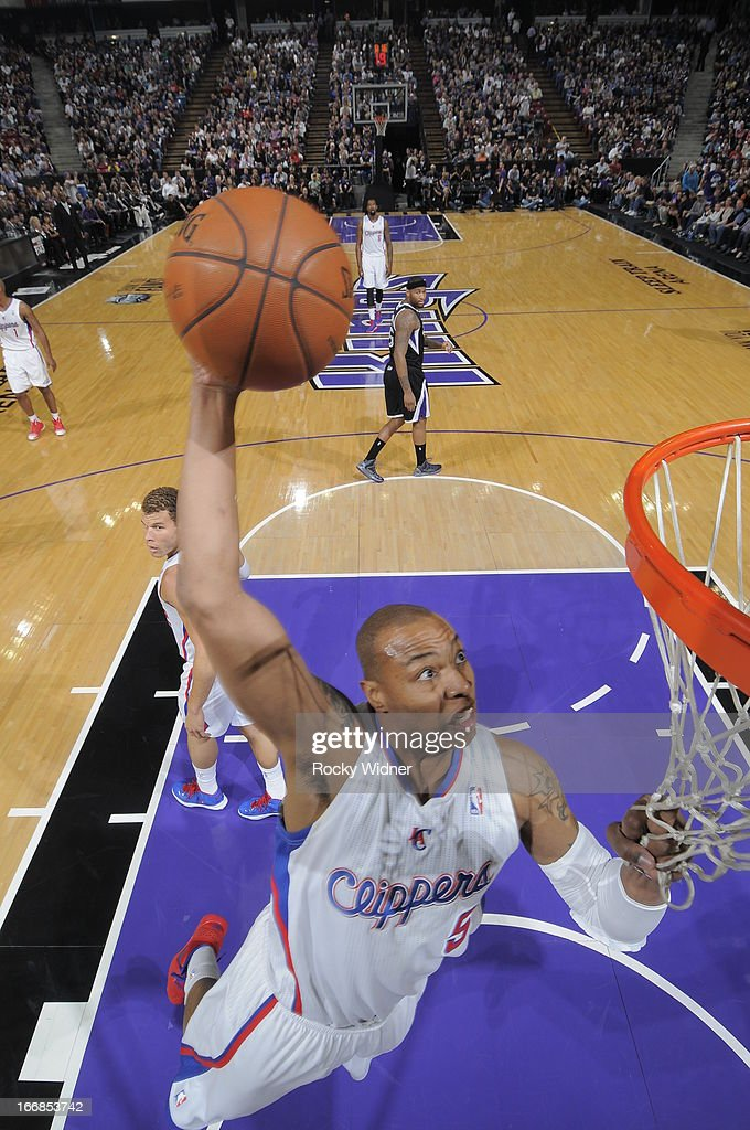 Caron Butler #5 of the Los Angeles Clippers dunks the ball against the Sacramento Kings on April 17, 2013 at Sleep Train Arena in Sacramento, California.