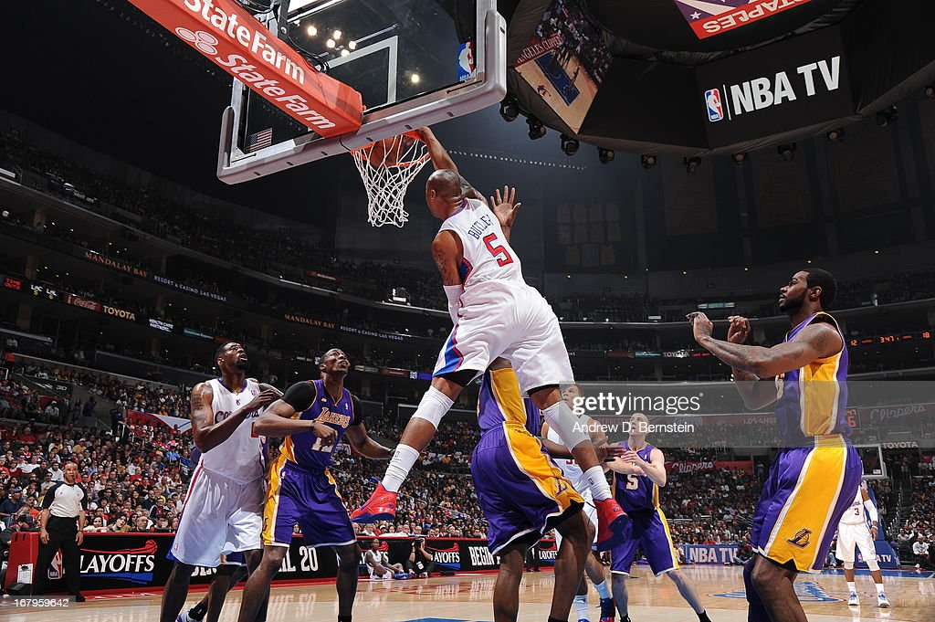 <a gi-track='captionPersonalityLinkClicked' href=/galleries/search?phrase=Caron+Butler&family=editorial&specificpeople=201744 ng-click='$event.stopPropagation()'>Caron Butler</a> #5 of the Los Angeles Clippers dunks the ball against the Los Angeles Lakers at Staples Center on April 7, 2013 in Los Angeles, California.