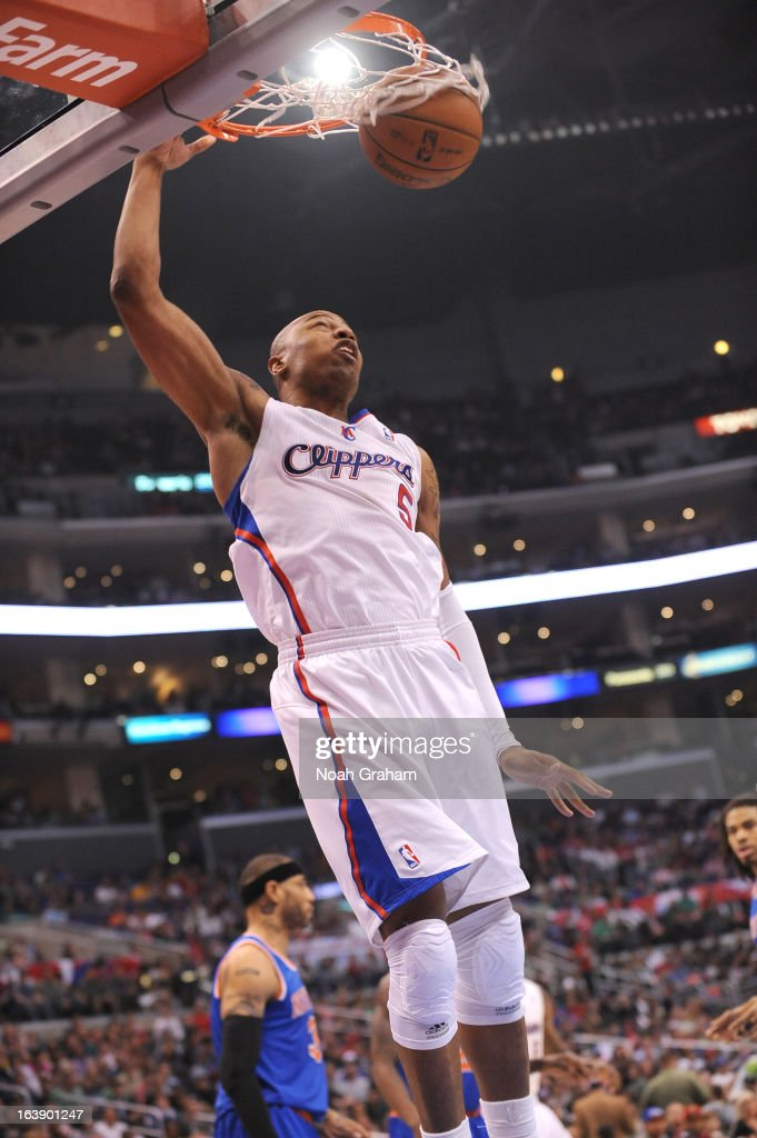 Caron Butler #5 of the Los Angeles Clippers dunks the ball during the game between the Los Angeles Clippers and the New York Knicks at Staples Center on March 17, 2013 in Los Angeles, California.
